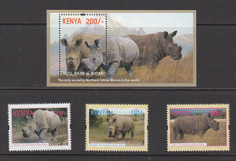 2018 Kenya NEW ISSUE 10.5.18 Northern White Rhino Complete Set Of 3 + Souvenir Sheet MNH - Kenia (1963-...)