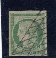France - Cérès - N°Y.T 2 - 15c Vert, Oblit Grille Sans Fin - Signé Calves - Cote 1500€ - 1849-1850 Ceres