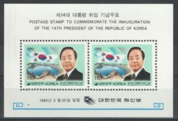 Corée Du Sud - Bloc - BF - YT 445 ** MNH - 1993 - 14th President Of The Republic Of Korea - Corée Du Sud