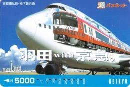 AVION - AVIATION - PLANE - AEROPORT - AIRPORT -  METRO  - TRAIN - Carte Prépaid Japon - Avions
