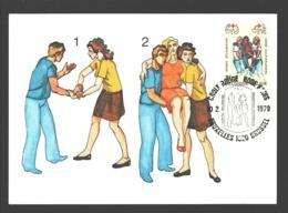 FDC Rode Kruis - 1979 - Postkaart - Methode Van De Geïmproviseerde Draagstoel - FDC