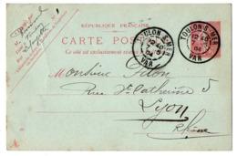 Entier Postal Semeuse Lignée --1904---n° 129 CP ( 403 ) --TOULON - 83  Pour Lyon-69--cachets - Entiers Postaux