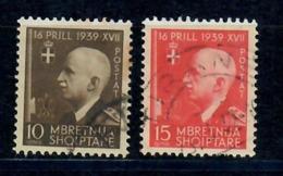 ALBANIA 1942 - 3° ANNIVERSARIO REGNO ITALI E ALBANIA - 2 VALORI USATI - Albania