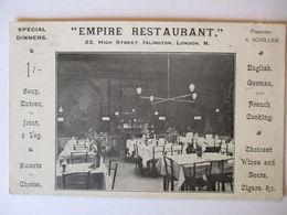 London, Empire Restaurant A. Schiller, 1914   - Ver. Königreich