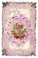 CARTE FANTAISIE - Fleurs, Carte Pailletée - Fantaisies