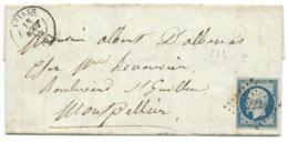 N°14 BLEU NAPOLEON SUR LETTRE / AZILLE POUR MONTPELLIER / 18 AOUT 1855 / PC 222 INDICE 7 - 1849-1876: Classic Period