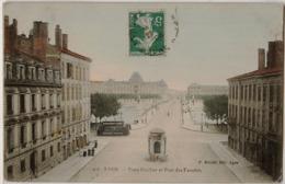 69 - LYON - Place Grollier Et  Pont Des Facultés - Carte Colorisée 1908 - Lyon