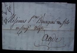Toulon Le 10 Prairial An 12 (1803) Lettre Pour Agde, Avec Marque T Oulon 18mm X 9 Mm - Marcophilie (Lettres)