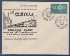 = Toulouse Gare 16.11.1960 Haute-Garone Illustration Toulouse-Paris En 7 Heures Record Européen Timbre 1266 Europa - Marcophilie (Lettres)