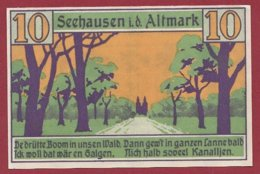 Allemagne 1 Notgeld De 10 Pfenning Stadt Seehausen (RARE)  Dans L 'état N °4813 - [ 3] 1918-1933 : República De Weimar