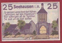 Allemagne 1 Notgeld De 25 Pfenning Stadt Seehausen (RARE)  Dans L 'état N °4814 - [ 3] 1918-1933 : República De Weimar
