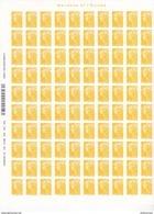 France, Feuille Complète De 100 Timbres , Autoadhésif N° 208, Marianne Et L'Europe, Cote 15€; ( F1710/01) - Fogli Completi