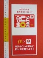 Z.08 JAPAN GIAPPONE MCDONALD'S FEDELITY CARD POINT  MC DONALDS CARTA FEDELTA' CIBO ALIMENTAZIONE - Other