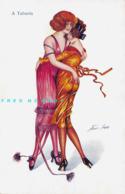 """C-1910 Xavier Sager Risqué Art PC: Lesbians Dance At Paris Club """"A Tabarin"""" - Sager, Xavier"""
