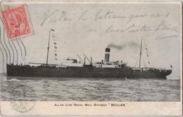 "BATEAU - Allan Line Royal Mail Steamer "" SICILIAN"" 1909 - 2 Timbres - Paquebots"