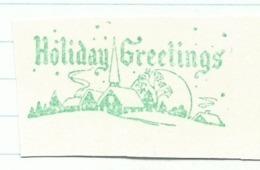 F018 EMA FREISTEMPEL METER Joyeux Noel Season Greetings Christmas Snow Landscape CANADA Kitchener 1960 Green Color - Noël