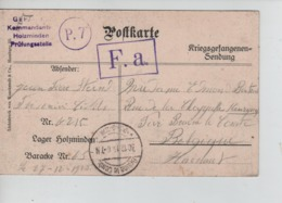 PR7435/ CP Camp De Holzminden Censure Du Camp 27/12/15 PDG-POW > Braine-le-Comte C.d'arrivée - WW I