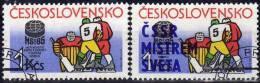 Eishockey-Championat PRAG 1985 CSSR 2810+2816 O 3€ CSR-Sieg Zur WM With Overprint Winter-sport Set Tschechoslowakei - Prove E Ristampe
