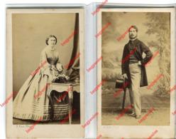 2 CDV 1862 :  Laure Louise Le VASSEUR De BAMBECQUE MAZINGHEN & Albert Henri Amédé Le SERGEANT De MONNECOVE - Personnes Identifiées