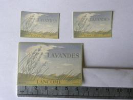 Lot De 3 étiquettes De Parfum - LANCOME - Lavandes - Etiquettes