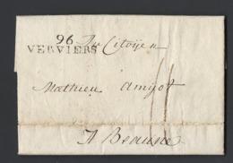 Lettre Avec Correspondance Marque Postale 96 VERVIERS (36X10) Belgique Vers Beaune Du 30 Avril 1799 - Marcophilie (Lettres)