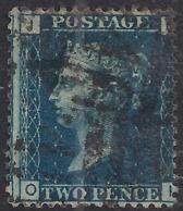GB 1858 – 76 QV 2d Deep Blue ( O & I ) Victoria Plate 13 Used SG 47 ( R380 ) - 1840-1901 (Victoria)