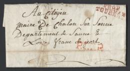 Lettre Avec Correspondance En PP Marque Postale P86P TOURNAY En Rouge Vers Maire De Chalon/Saône Du 6 Prairial An XI - 1801-1848: Precursors XIX