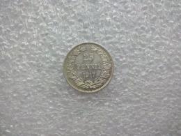Finland-Russian Empire   25 Penniä - Nikolai II (Civil War Coinage; Without Crown) 1917 Silver (.750) - Finlande