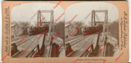 Photo Stéréo - Niagara Railway Suspension Bridge - Niagara Falls - Griffith & Griffith - Philadelphia, Pa. - Locomotive - Stereoscopio