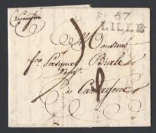 Lettre Avec Correspondance Marque Postale 57 LILLE Adressée Franco Pasqual Viale Du 16 Mai 1807 Vers Cartagène (Espagne) - 1801-1848: Précurseurs XIX