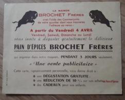 Carte Publicitaire Pain D'épices BROCHET Frères Vente Commerçants Paris XIXe Arrondissement - Alimentaire