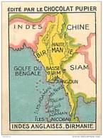 PU3    INDES  ANGLAISES   BIRMANIE    CARTE  MAP   7 X 5 Cm Chromo ASIE INDIA INDE    Chocolat - Vieux Papiers