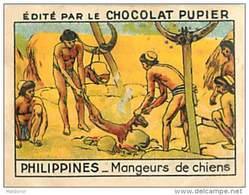 PU3    INDONESIE  ILES  PHILIPPINES  MANGEURS  DE CHIENS    ASIE OCEANIE    7 X 5 Cm    Chocolat - Vieux Papiers