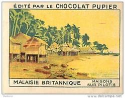 PU3    INDONESIE MALAISIE BRITANNIQUE  PILOTIS   HABITAT  ASIE OCEANIE 7 X 5 Cm Chromo    Chocolat - Vieux Papiers