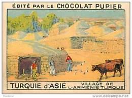 PU3    TURQUIE  D ' ASIE  ARMENIE VILLAGE VACHES  ARCHITECTURE 7 X 5 Cm EUROPE Chocolat Café - Vieux Papiers