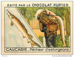 PU3  RUSSIE  CAUCASIE  TIFLIS  KOURA  PECHEUR  D' ESTURGEONS  ASIE CAUCASE 7 X 5 Cm PECHE POISSON Chocolat Café - Vieux Papiers