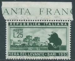 1952 ITALIA FIERA DI BARI MNH ** - RB9-2 - 1946-60: Nuovi