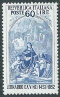 1952 ITALIA LEONARDO DA VINCI 60 LIRE MNH ** - RB9-2 - 1946-60: Nuovi