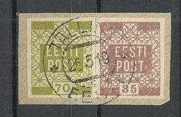 ESTLAND Estonia 1919 Michel 3 - 4 O Tallinn Auf Briefstück - Estland