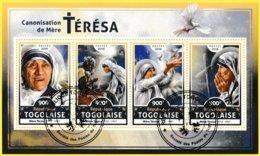 Bloc Feuillet Oblitéré De 4 Timbres-poste - Canonisation De Mère Térésa - République Togolaise 2016 - Togo (1960-...)