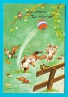 """Carte Illustrateur -lapins,écureuil,oiseaux  """"les Champions Du Ballon Rond"""" Football Animaux Humanisés - Animals"""