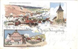 STRÜMPFELBACH Backnang Color Litho In Der Kirschblüte Gasthaus Linde Kirche Geelaufen 17.7.1900 - Backnang