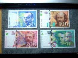 QUATUOR BILLET FRANCE 50F 100F 200F 500F!!!!!!!!!!! - 1992-2000 Last Series