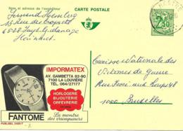 """"""" Fantome """" Horlogerie, Montre, Watch, Publicite Sur Entier Postal Illustre De Belgique, Publibel - Horloges"""
