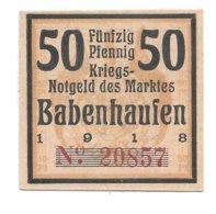 *notgeld   Babenhausen  50 Pfennig  B1.1 Cat Val 3,00 Euro - [11] Local Banknote Issues