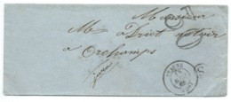 MARQUE POSTALE / BEAUNE POUR ORCHAMPS 1865 / TAXE 30 DOUBLE TRAIT - Poststempel (Briefe)