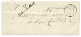MARQUE POSTALE / CHALLANS  VENDEE POUR LUCON 1855 / CURSIVE 79 ST JEAN DE MONT - Marcophilie (Lettres)