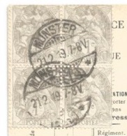 R104 - MUNSTER ( ELS ) - 1919 - Timbres Type Blanc - Cp Franchise Militaire Avec Drapeaux - - Alsace-Lorraine