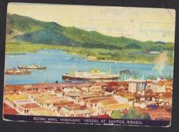 Royal Mail Ship Lines - Vessel Paquebot Highland At Santos Brasil Brazil - Kenneth Shoesmith - Postmark 1938 - Paquebots