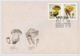 15.- LITHUANIA 2016 Red Book Of Lithuania - Funghi - First Day Cover - Hongos